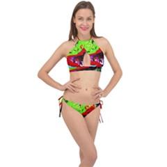 Untitled Island 4 Cross Front Halter Bikini Set