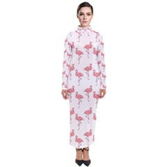Pink Flamingo Pattern Turtleneck Maxi Dress