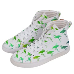 Flamingo Pattern Rainbow  Women s Hi Top Skate Sneakers by CrypticFragmentsColors