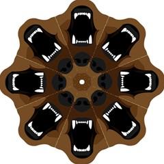 Bear Brown Set Paw Isolated Icon Straight Umbrellas