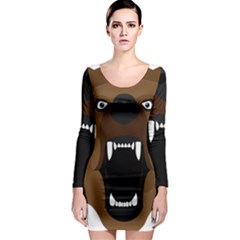 Bear Brown Set Paw Isolated Icon Long Sleeve Bodycon Dress