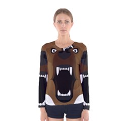Bear Brown Set Paw Isolated Icon Women s Long Sleeve Tee