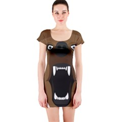 Bear Brown Set Paw Isolated Icon Short Sleeve Bodycon Dress