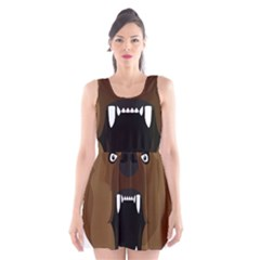 Bear Brown Set Paw Isolated Icon Scoop Neck Skater Dress