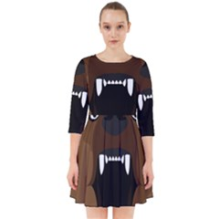 Bear Brown Set Paw Isolated Icon Smock Dress
