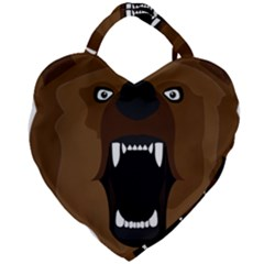 Bear Brown Set Paw Isolated Icon Giant Heart Shaped Tote by Nexatart