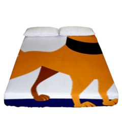 Stub Illustration Cute Animal Dog Fitted Sheet (queen Size)