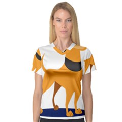 Stub Illustration Cute Animal Dog V Neck Sport Mesh Tee