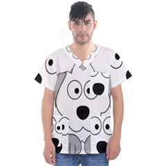 Animal Cartoon Colour Dog Men s V Neck Scrub Top