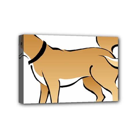 Dog Brown Pet Animal Tail Eskimo Mini Canvas 6  X 4