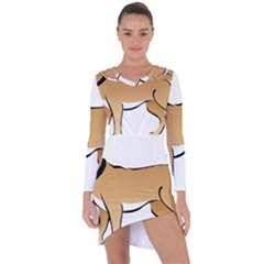 Dog Brown Pet Animal Tail Eskimo Asymmetric Cut Out Shift Dress