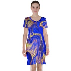 Blue Gold Marbled Short Sleeve Nightdress by 8fugoso
