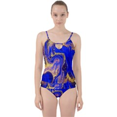 Blue Gold Marbled Cut Out Top Tankini Set