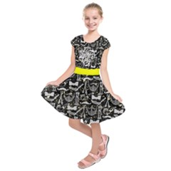 Black Classic Happy Father s Day Print Kids  Short Sleeve Dress