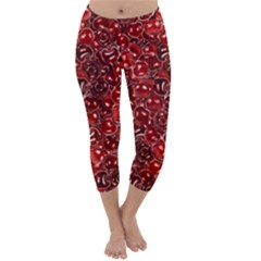 Sweet Cherries Capri Winter Leggings  by eyeconart