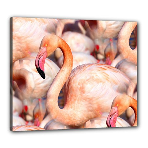 Pink Flamingos Flock Canvas 24  X 20  by CrypticFragmentsColors