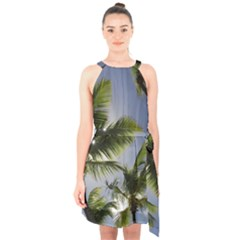 Palm Trees Tropical Beach Scenes Coastal   Halter Collar Waist Tie Chiffon Dress