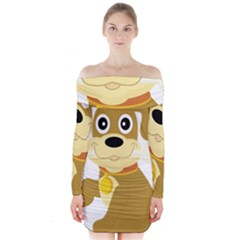 Dog Doggie Bone Dog Collar Cub Long Sleeve Off Shoulder Dress