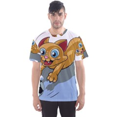 Cat Ball Play Funny Game Playing Men s Sports Mesh Tee