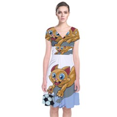 Cat Ball Play Funny Game Playing Short Sleeve Front Wrap Dress