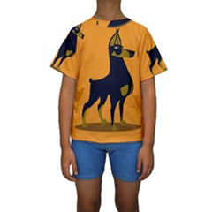 Illustration Silhouette Art Mammals Kids  Short Sleeve Swimwear