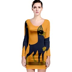 Illustration Silhouette Art Mammals Long Sleeve Bodycon Dress