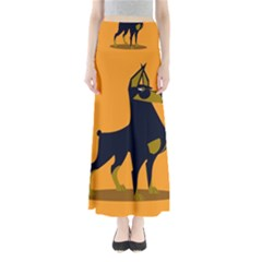 Illustration Silhouette Art Mammals Full Length Maxi Skirt
