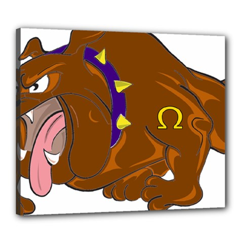 Bulldog Cartoon Angry Dog Canvas 24  X 20