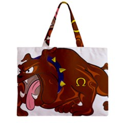 Bulldog Cartoon Angry Dog Zipper Mini Tote Bag