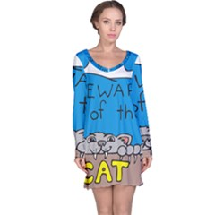 Cat Print Paw Pet Animal Claws Long Sleeve Nightdress