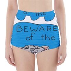 Cat Print Paw Pet Animal Claws High Waisted Bikini Bottoms