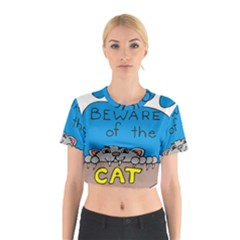 Cat Print Paw Pet Animal Claws Cotton Crop Top