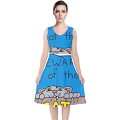 Cat Print Paw Pet Animal Claws V Neck Midi Sleeveless Dress