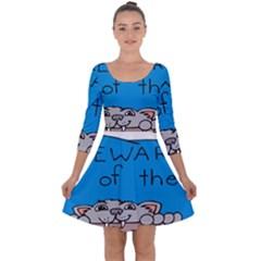 Cat Print Paw Pet Animal Claws Quarter Sleeve Skater Dress