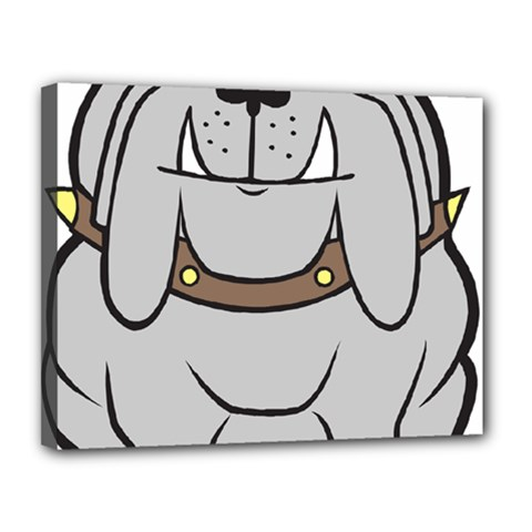 Gray Happy Dog Bulldog Pet Collar Canvas 14  X 11