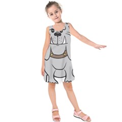 Gray Happy Dog Bulldog Pet Collar Kids  Sleeveless Dress