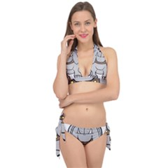 Gray Happy Dog Bulldog Pet Collar Tie It Up Bikini Set