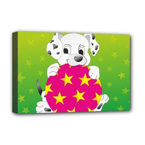 Dalmatians Dog Puppy Animal Pet Deluxe Canvas 18  X 12