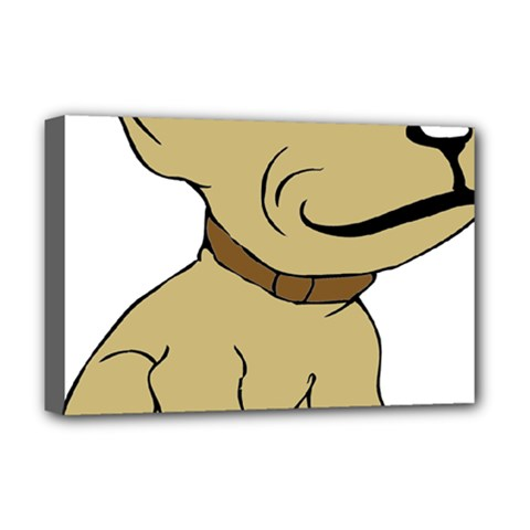 Dog Cute Sitting Puppy Pet Deluxe Canvas 18  X 12