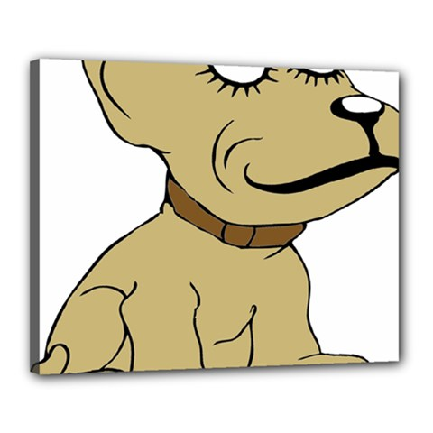 Dog Cute Sitting Puppy Pet Canvas 20  X 16