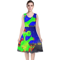 Dragon Grisu Mythical Creatures V Neck Midi Sleeveless Dress