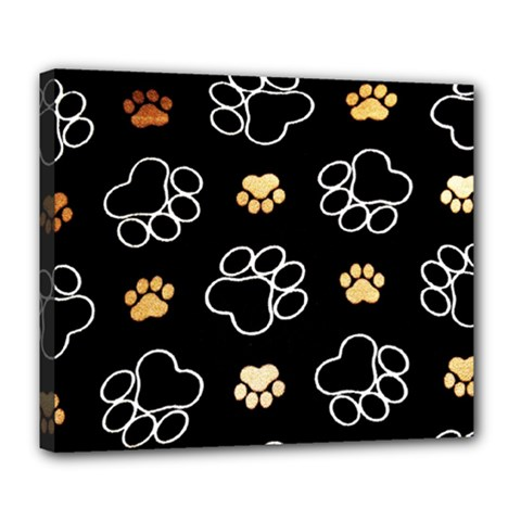 Dog Pawprint Tracks Background Pet Deluxe Canvas 24  X 20