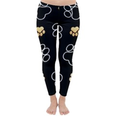 Dog Pawprint Tracks Background Pet Classic Winter Leggings