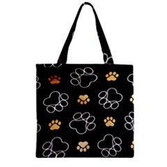 Dog Pawprint Tracks Background Pet Zipper Grocery Tote Bag