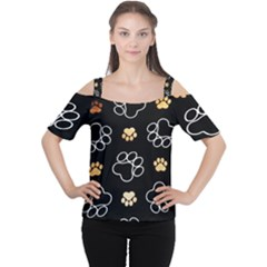 Dog Pawprint Tracks Background Pet Cutout Shoulder Tee