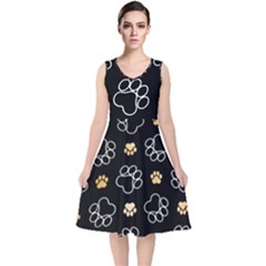 Dog Pawprint Tracks Background Pet V Neck Midi Sleeveless Dress