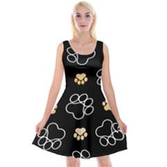 Dog Pawprint Tracks Background Pet Reversible Velvet Sleeveless Dress
