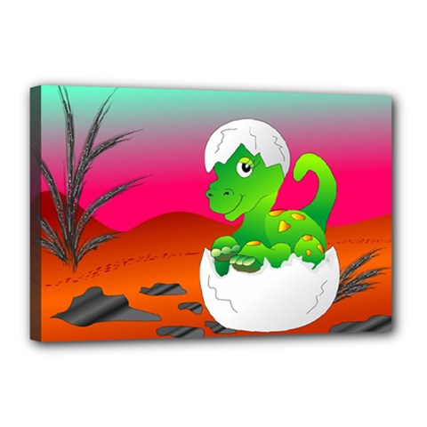 Dinosaur Dino Baby Dino Lizard Canvas 18  X 12