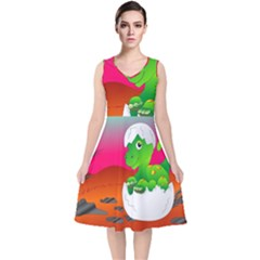 Dinosaur Dino Baby Dino Lizard V Neck Midi Sleeveless Dress