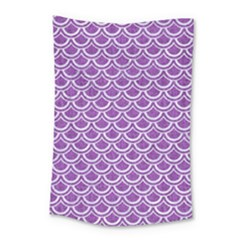 Scales2 White Marble & Purple Denim Small Tapestry
